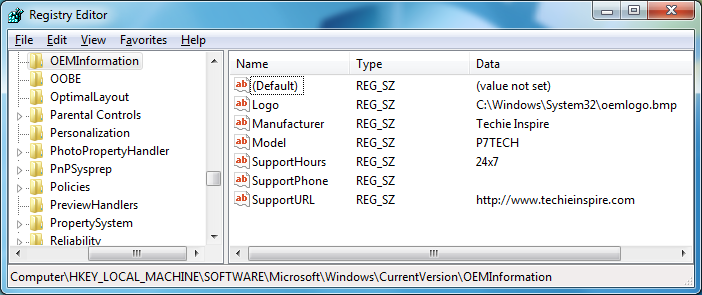 Customize OEM Info (Manufacturer Support) with your Name & Logo in