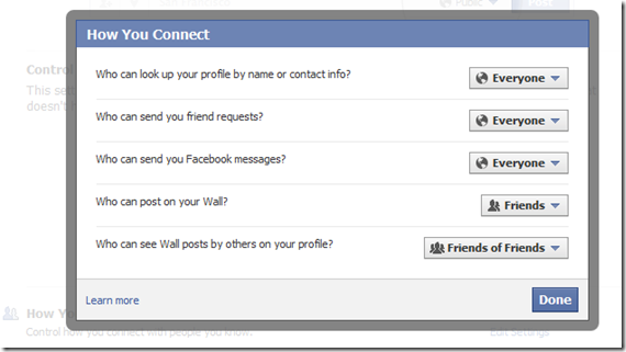 facebook how you connect setting