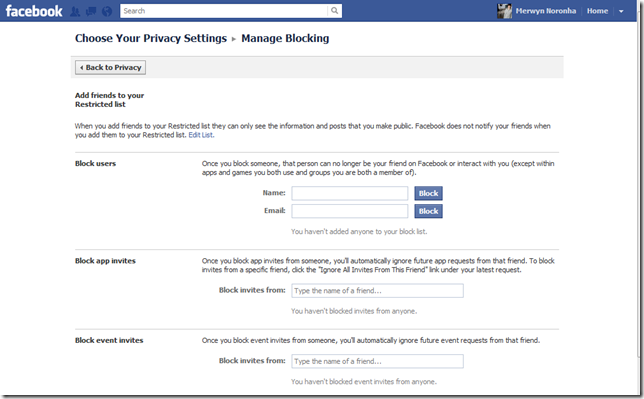 facebook manage blocking settings page