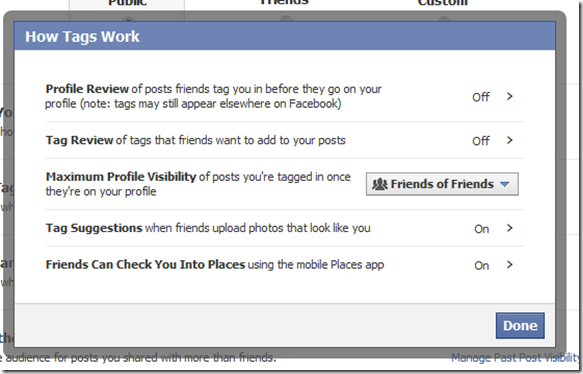 how tag works facebook settings