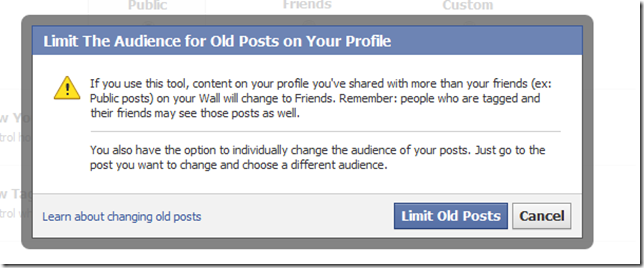 limt the audience for old posts on your profile