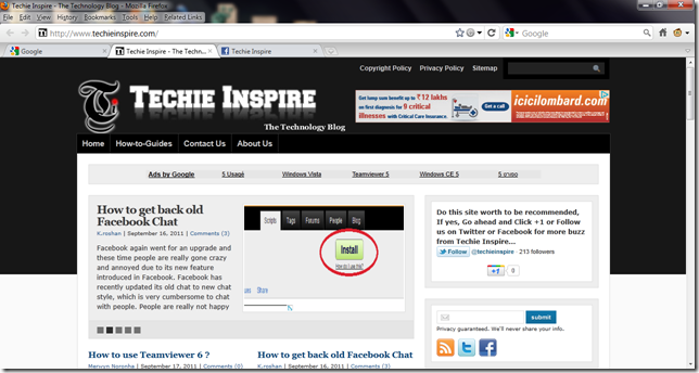 techie inspire on fxchrome firefox
