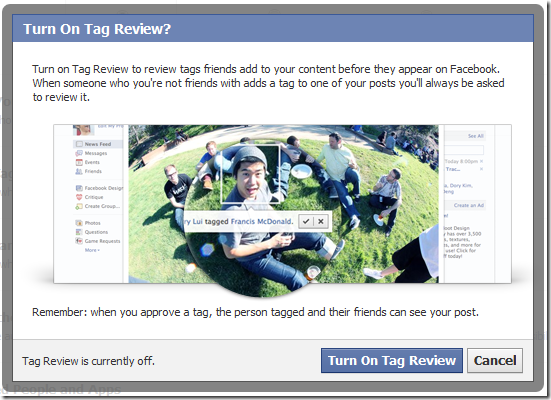 turn on tag review facebook settings