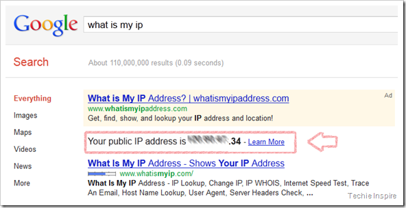 Check IP address in Google search result