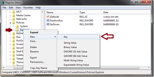 create new key under explorer