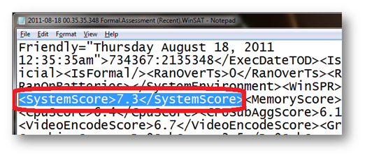 Change system score in Windows 7