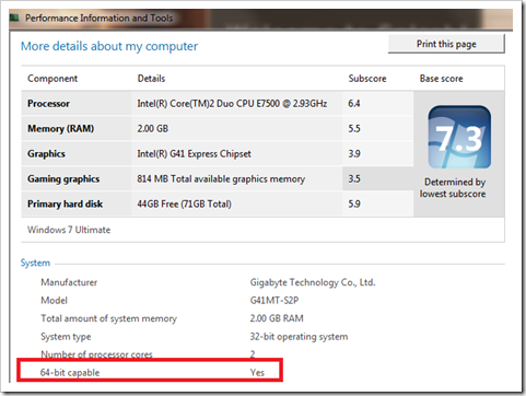 check 64-bit in windows 7
