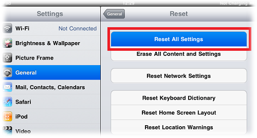 How to Reset iPad to Default Factory Settings