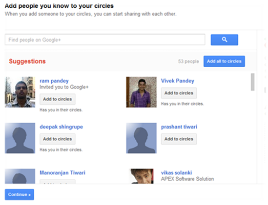 Add people you know to your circle in google plus