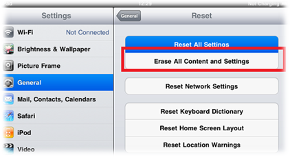 Reset iPad to Default Factory Settings