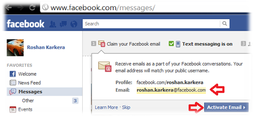 Activate facebook email id