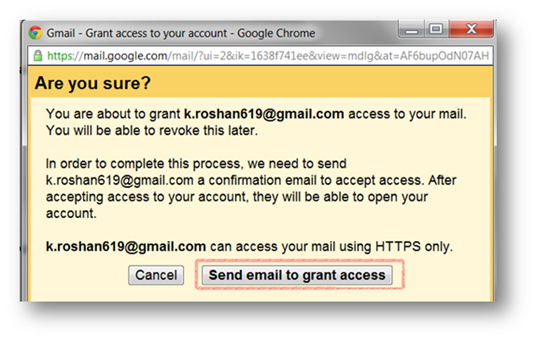 Send email to grant access