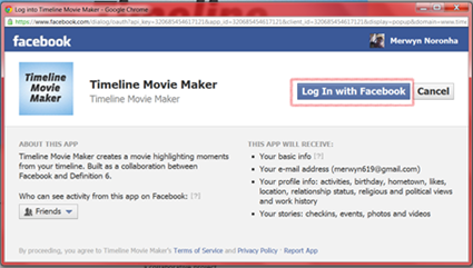 Access facebook timeline movie maker