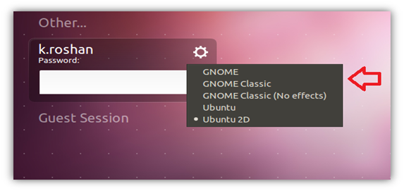 GNOME Option in Ubuntu 11.10
