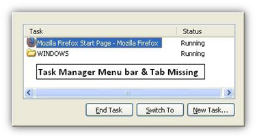Task Manager Menu bar and Tabs Missing