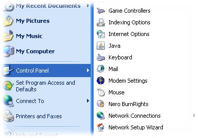Control Panel Applets in Start Menu in Windows XP