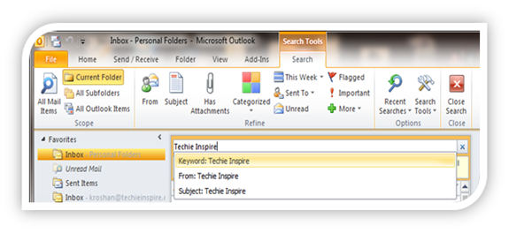 Search better in Outlook 2010