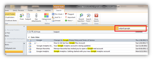 search mail using subject keyword