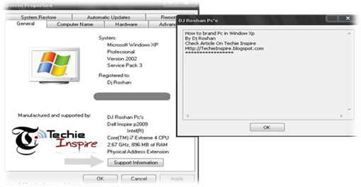 Name in System Properties in Windows XP