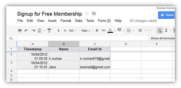 Create Forms using Google Docs