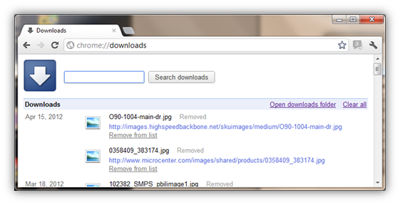 Chrome://downloads