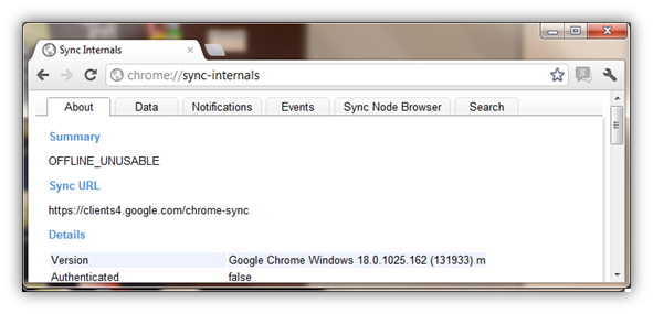 Chrome://sync-internals