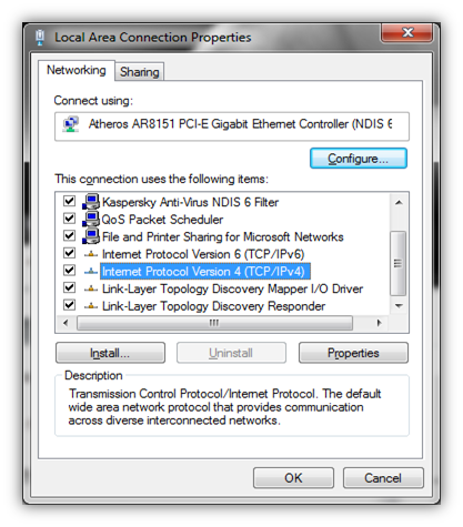 Configuring LAN settings in Windows 7
