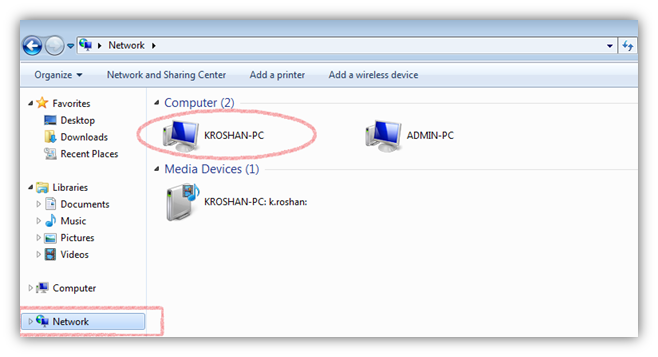 connected system on network windows 7
