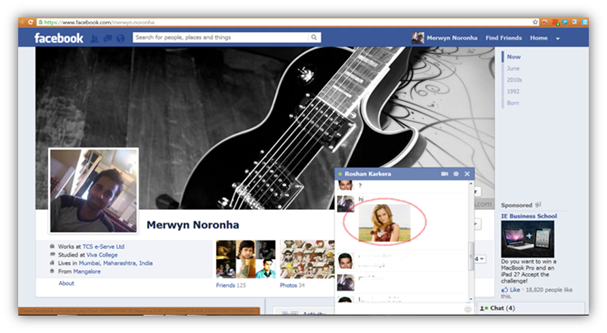 Add image in facebook chat
