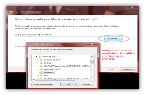 create shortcut in windows 7
