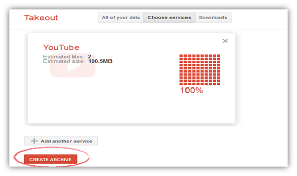YouTube Google Takeout