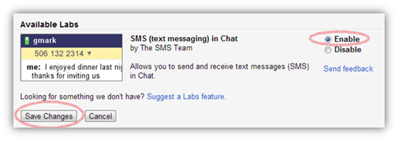 Enable SMS (text messaging) in Chat in Gmail Lab