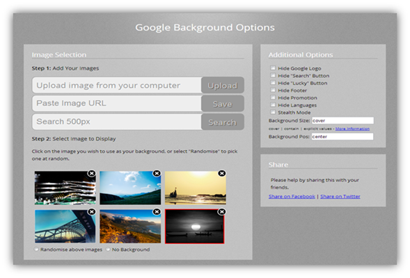 how to set background image for google homepage