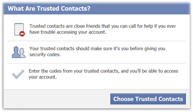 Facebook Trusted Contacts to recover password