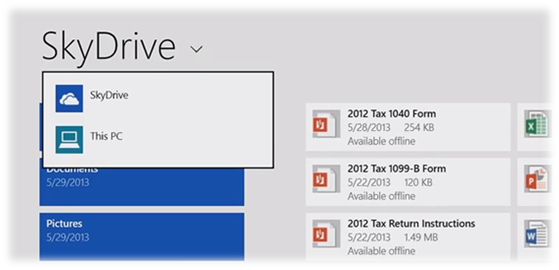 SkyDrive Integrated in Windows 8.1