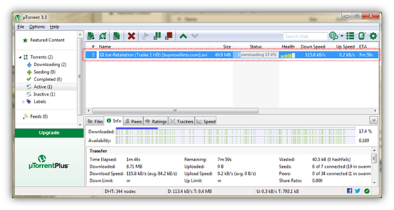 File is downloading in uTorrent software..