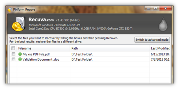 Recover deleted data/files from HDD on Windows PC