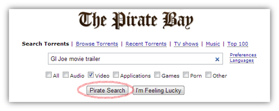 Search Torrent in PirateBay torrent site