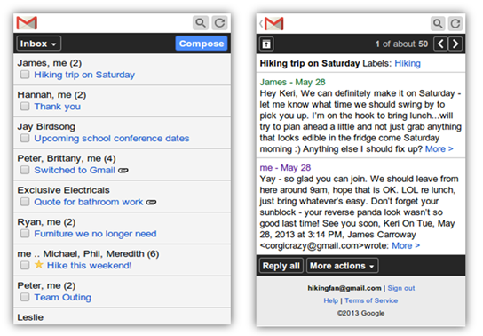 Gmail update gets a new look for feature phones