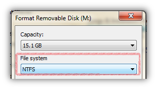 Format Drive to Convert FAT32 to NTFS