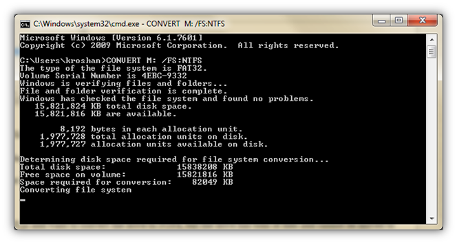 Convert Drive FAT32 to NTFS using command prompt