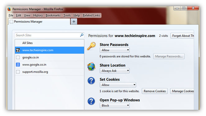 About:Permissions Hidden Firefox Easter Eggs