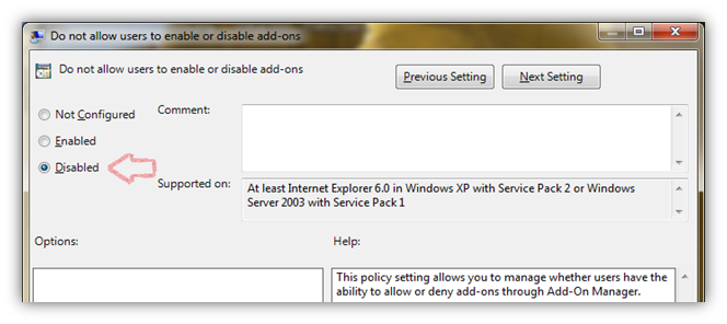 Disable Manage Add-on Restriction