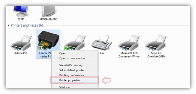 Open Printer Properties