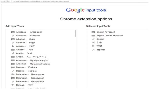 Google Input Tool on Chrome