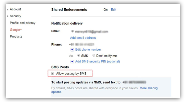 How to Create Google+ Posts via SMS Messages