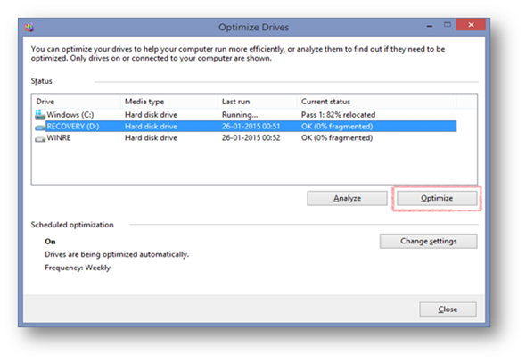 Defragmentation in Windows