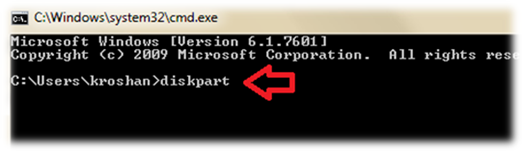 Diskpart using command prompt